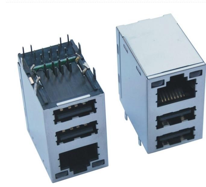 RJ 45+双层USB