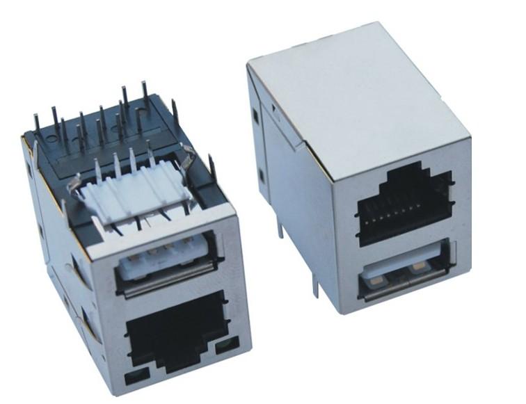 RJ带灯网络插+单层USB