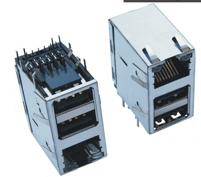 RJ带滤波器+双层USB