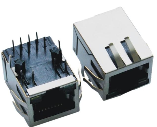 屏蔽带灯带弹前脚网络插座-Single Port)