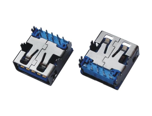 USB3.0 AF 短体SMT 不沉板外壳鱼叉